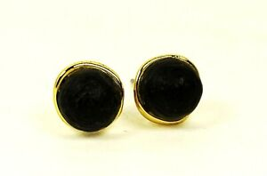 ALEXIS BITTAR Gold Plated Hand Carved Black Lucite Stud Earrings