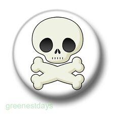 Skull & Bones 1 Inch / 25mm Pin Button Badge Emo Goth Indie Punk Pirate Arr Cute