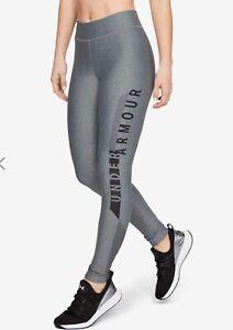 Under Armour HeatGear Leggings Dark Grey Black Small S Gym Activewear