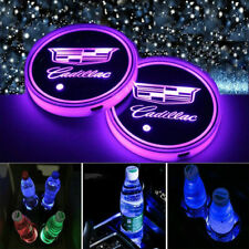 2PCS Car Cup Holder Pad LED Coaster Light 7 Colors USB Charging Mat for Cadillac