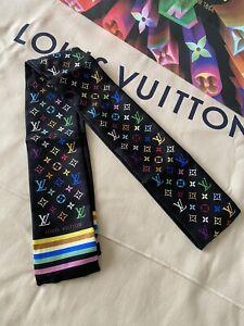 AUTHENTIC LOUIS VUITTON Silk Monogram Multicolor Bandeau Black