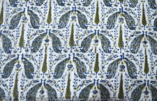 Cotton 10 Yard White Fabric Indian Hand Block Print Sewing Material Craft New
