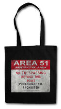 AREA 51 ROAD SIGN HIPSTER BAG - Stofftasche Stoffbeutel - Alien UFO Schild TR3B