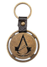 ASSASSIN'S CREED UNITY LEATHER STRAP ROUND METAL LOGO KEYCHAIN KEYRING PROMO NEW