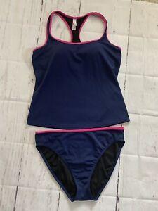 Victorias  Secret L 2-Piece Tankini Blue Pink Trim Racerback Tank/Brief Swim Set