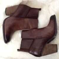 "Vince Camuto Womens 6.5 M Ankle Boots Booties Brown Leather 3"" Heel Dark Toe"