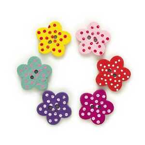 50pcs Flower Shape Wood Buttons Sewing Scrapbooking Cloth Home Crafts Decor 17mm