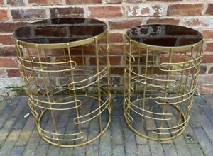 Nest Group of 2 Side Tables - Gold Metal & Smoked Glass Top - Contemporary Style