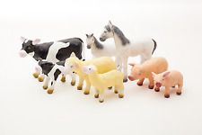 Natural Green  rubber Toy Farm animal set of 8