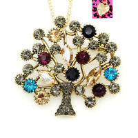 Women's Crystal Tree of Life Pendant Chain Betsey Johnson Necklace/Brooch Pin