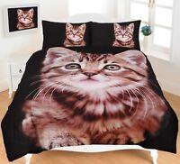 Cat Bedding Sets Animal Print Duvet Cover 3D King Size Double Single Designer