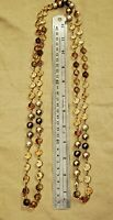 Long Bezel Set Amber And Clear Crystal Rounds With Faux Pearls goldtone Necklace
