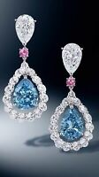 Aquamarine Earrings Drop Dangle White Topaz 18k White Gold Plated Women Jewelry