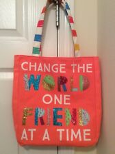 """Shoulder Bag """"Change The World One Friend At A Time"""" Girls Tote Dance School"""