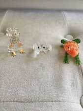 Frog Crystal Glass Figurine Keepsake Set Of 3
