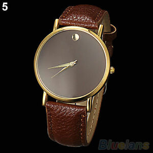 * WATCH * BROWN COLOURED - GOLD RIM - BROWN FAUX LEATHER BAND - NEW