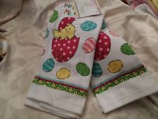 Ritz Easter Chick & Eggs White w/ Blue, Pink & Yellow Cotton Kitchen Towels NWT