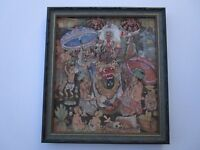 FINE DETAILED 1970 BALI UBUD PAINTING TROPICAL FOLK ART CEREMONIAL FIGURES VNTG