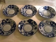 "Lapid Israel Blue And Grey Ceramic Saucers 6"" W Set Of 6 Vtg"