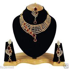 Gold Plated Handmade Party Wear Kundan Zerconic Necklace Set Jewelry Earrings