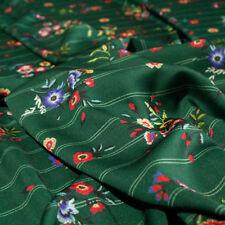 Tessuto al 1/2 metro Abbigliamento Georgette Floreale WILMA Verde Riga Gessato