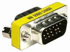 VGA SVGA Slimline Adaptor Male to Male 15 Pin Connects Extends 2x Monitor Leads