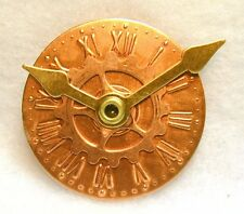 Hand Crafted Brass & Copper Clock Button Mechanical Hands Move FREE US SHIPPING