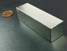 "One Huge N52 Neodymium Block Magnet Super Strong Rare Earth 3"" Bar Over 5k Gauss"