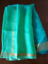 Green And Blue Organza Silk Saree
