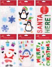 Set of 6 Assorted Reusable Christmas Window GEL Stickers Santa Snowman Etc