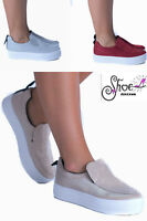 New Women's Ladies Flat Casual Slip On Glitter Plimsolls Pumps Trainers Shoes