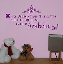 Once Upon A Time Princesse Personnalisé Nom Autocollant Mural Citation Nursery/chambre à coucher
