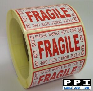 Fragile Handle With Care Do Not Bend Red Roll Labels Stickers 70x40 FRA-LP-ROLL