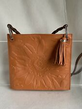 Brighton Leather Piper Crossbody Bag Purse Embossed Great Color with Jeans