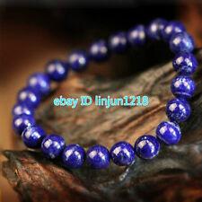 "8mm Natural lapis lazuli Gemstone Round Beads Stretch Bracelet 7.5"" AAA"