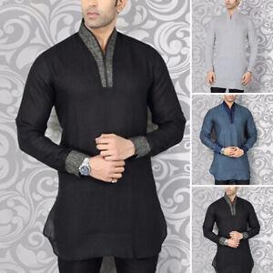 Men Long Sleeve Traditional Kurta Shirt Indian Clothes Ethnic Blouse Dress Shirt