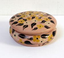 Belle boîte à bijoux Art Déco bois peint vieux rose signée Faustier
