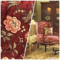 Designer Velvet Chenille Upholstery Fabric - Wine Red Floral
