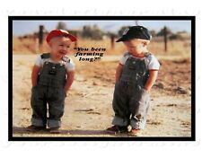 YOU BEEN FARMING LoNG? twin boys overalls classic plaque wall hanging art metal
