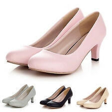 WOMENS MID HEELS LADIES MARY JANE OFFICE PARTY COURT SHOES PUMPS SIZE 11-0