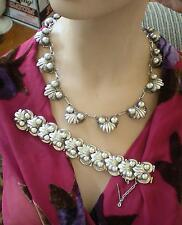 AWESOME TAXCO MEXICAN 980 SILVER NECKLACE & MATCHING BRACELET-190.8 GRAMS