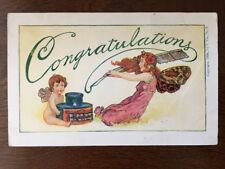 1906 Congratulation - Fairy With Quill Pen & Ink Bottle Z10