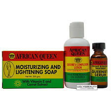 African Queen Basic Set: Queenie's Serum, Lotion, and Moisturizing Soap for Base