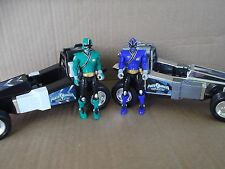 2 POWER RANGERS Space cars Blue Green action figures boys toys games FREESHIPPIN