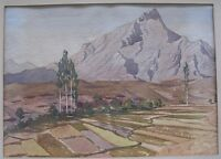Swiss? H.C. Gurney View of the Alps in Summer Mountain Watercolor Painting