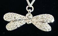 Sterling silver clear stone vintage Art Deco antique butterfly pendant necklace