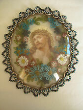 Antique French Devotional Beaded Icon Reliquary - JESUS CHRIST