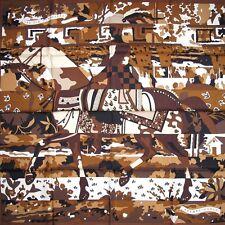 HERMES Brown LES DIX CAVALIERS Twill 90 carre tusch scarf Unworn !