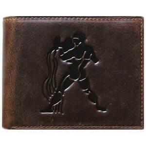 Bi-Fold Brown Genuine Leather Wallet ID Credit Card Holder Zodiac AQUARIUS