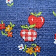 50cm x 91cm Blue w Red Gingham Apples Vintage Novelty Cotton Sewing Fabric 1960s